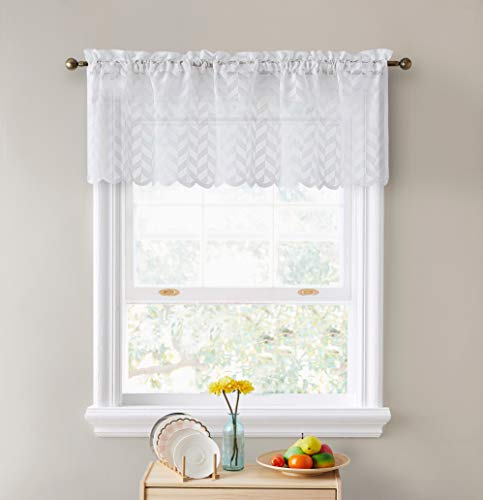 """HLC.ME Herringbone Lace Sheer Kitchen Cafe Curtain Valance Panel - Rod Pocket - Valance for Small Windows, Bathroom & Kitchen - 50"""" Wide x 18"""" Inch Length (White, 1 Valance Panel)"""