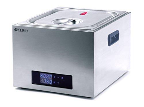 HENDI Sous-Vide Gerät, Sous-Vide Garer, mit 4-teiligem Abstandhalter, Vakuumierte Lebensmittel im Wasserbad, Temperaturbereich: 35°C bis 90°C, GN 2/3, 13L, 230V, 400W, 363x335x(H)290mm, Edelstahl