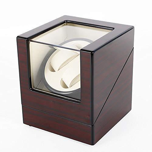 Uhrenbeweger 2 Uhren HaroldDol Automatisch Watch Winder Holz Box Uhrenkasten mit EU Adapter (Laufleise • Sichtfenster • Elegantes Design)