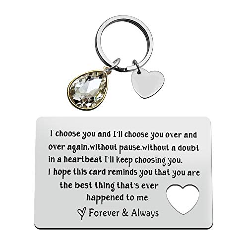 Couple Jewelry Engraved Wallet Inserts Card Keychain Set for Boyfriend Husband Anniversary Card Gift for Men Valentine's Day Jewelry Deployment Gifts Birthday Wedding Gift for Men Women