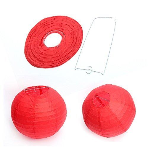 Dazone 10 Stück chinesische Laterne, Rot, Lampion, Papier, für Dekoration für Hochzeit, Haus, Geburtstag, Garten oder andere Anlässe, 30 cm
