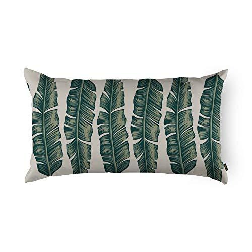Capa de Almofada Folhas Belchior Uniq Silk Home Verde/Areia 28 X 48 Cm, Silk Home
