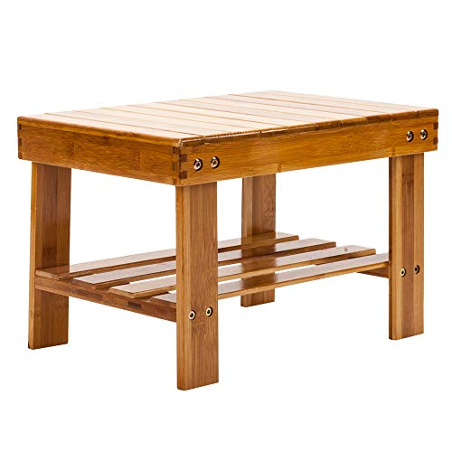 ASSR Bamboo Small Seat Stool for Kids Children Adult Lightweight Chairs Seat with Shelf Small Step Stool Bench for Bathroom,Living Room,Bedroom