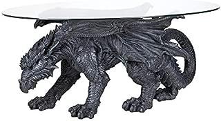 Design Toscano Warwickshire Dragon Gothic Decor Glass Topped Coffee Table, 39 Inch, Polyresin, Grey Stone