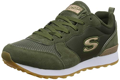 Skechers Women's RETROS-OG 85-GOLDN GURL Trainers, Grün (Olive Suede Nylon Mesh Rose Gold Trim Old), 38 EU