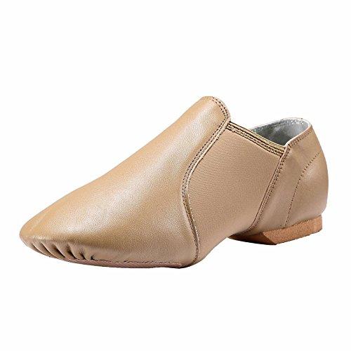 Dynadans Leather Upper Slip-on Jazz Dance Shoe for Women Men's Dance Shoes Brown 6M