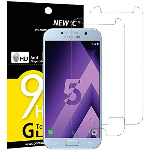 NEW'C PanzerglasFolie Schutzfolie für Samsung Galaxy A5 2017, [2 Stück] Frei von Kratzern Fingabdrücken und Öl, 9H Härte, HD Displayschutzfolie,DisplayschutzfolieSamsung A5 2017