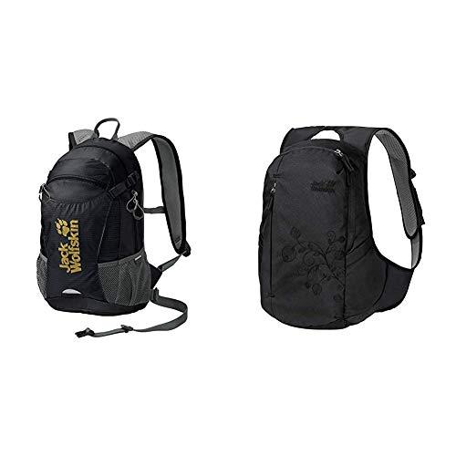 Jack Wolfskin VELOCITY 12 Rucksack, black, ONE SIZE & Ancona, komfortabler Tagesrucksack für Frauen, Damen Rucksack mit schlankem Schnitt, praktischer Backpack extra für Frauen