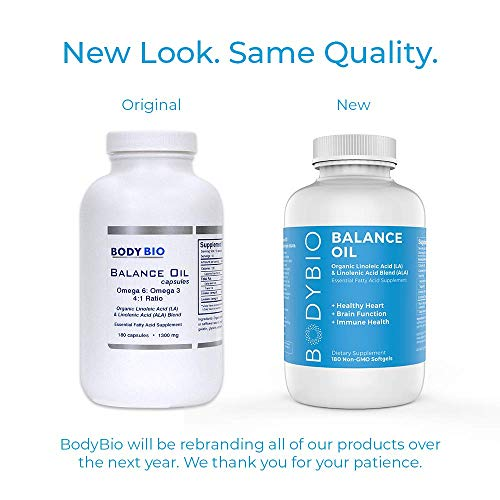 BodyBio Balance Oil - Essential Fatty Acids Omega 3 & 6 - Cold Pressed, Organic Safflower and Flax Seed Oil Blend for Brain & Mood Support and Cellular Health, 180 Softgels