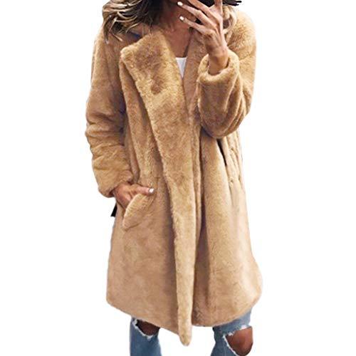 TUDUZ-Damen Plüschjacke Winter Lang Warm Outwear Tasche Langarm Winterjacke Wintermantel Cardigan Parka Khaki, Schwarz, Grau, Pink Gr. S-XXXL(Khaki,XXX-Large)