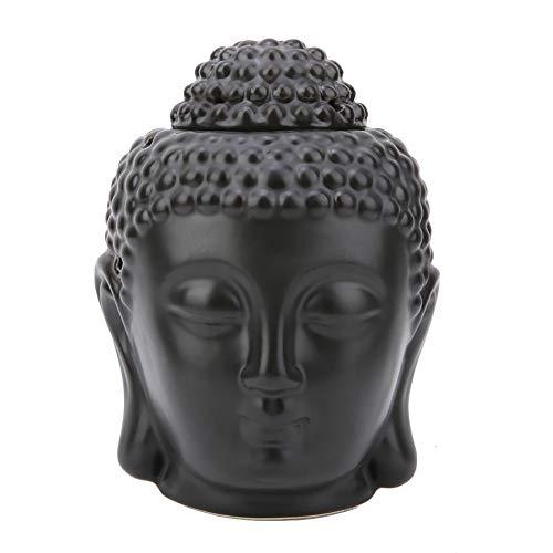 Mumusuki Zwarte Boeddha hoofd keramische etherische olie brander, wierook diffuser kandelaar voor yoga spa home slaapkamer decoratief geschenk