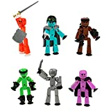 StikBot Zing Off The Grid Pack, Set of 6 Poseable Action Figures with Weapons and Accessories, Includes Striker, Clint, Pixel, Raptus, Shift and Regalius (TST614_6)
