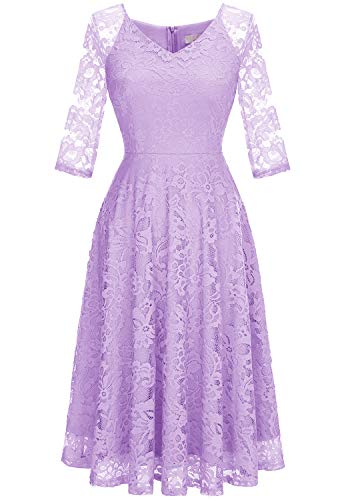 Dressystar 00058 Long-Sleeve A-Line Lace Bridesmaid Dress Midi for Wedding Formal Party Lavender S