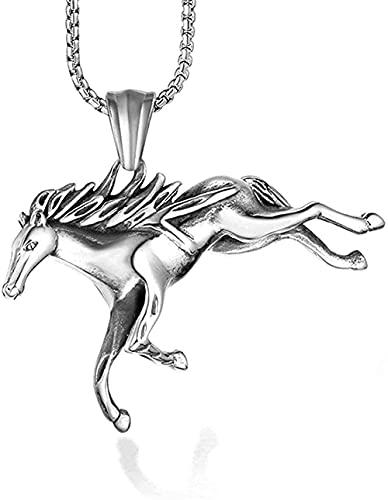 NC198 Collar de Caballo galopante de Acero de Titanio con Personalidad de Moda, Collar Punk con Colgante de Caballo del Zodiaco