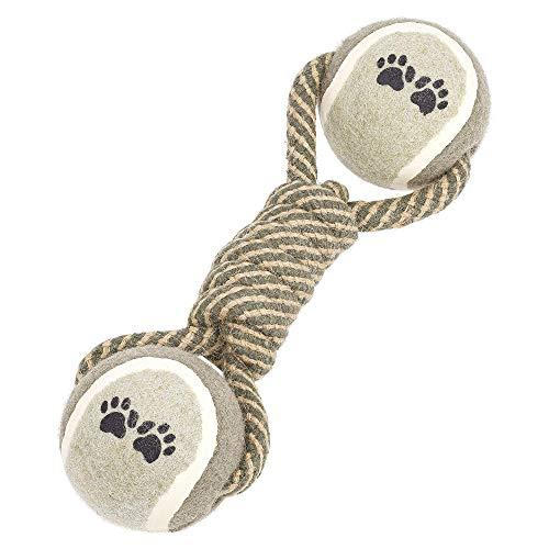 Hundespielzeug, Hundeball, perfekt für jeden Hund ob groß oder klein, besonders geeignet zum Spielen für drinnen und draußen, geflochtenes Seil mit Tennisbällen, Hundehantel aus Baumwolle (Grau-Braun)