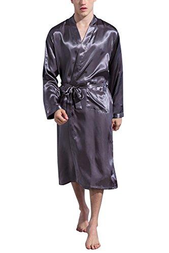 Dolamen Herren Morgenmantel Bademäntel Kimono, Weich u. Leicht glatte Luxus Satin Nachtwäsche Bademantel Robe Negligee locker Schlafanzug mit Belt & Pockets (XX-Large, Grau)