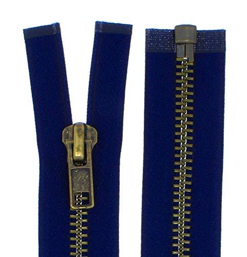 FIM Reißverschluss Metall Grob Nr. 8 Brüniert Teilbar für Lederjacken usw. Farbe: 4 - dunkelblau(330), 70cm lang