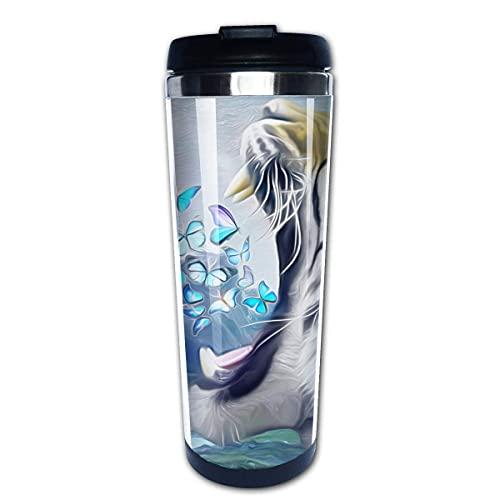 Taza de café Taza de vaso Revestimiento de acero inoxidable, Tiger Fierce Shout Print Taza de oficina 400 ML Botellas de agua Termo de ABS ambiental portátil Taza de vacío