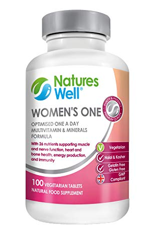 Women's One Optimised Multivitamin and Mineral, 100 Vegetarian Tablets, Assured Halal & Kosher, Vitamins A, C, D, E Vitamins B6, B12 and B1 Optimised Supplement, Balanced Nutrients Complete Multivitamin