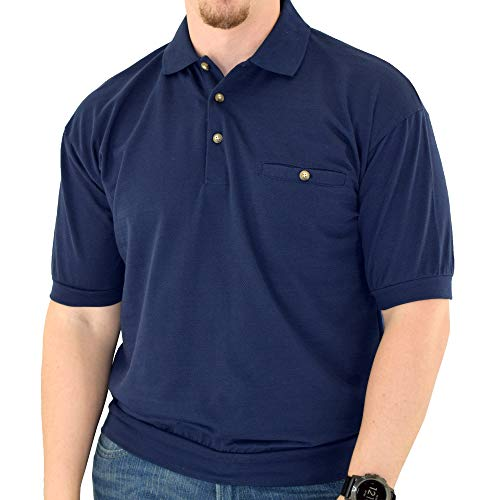 Classics by Palmland Short Sleeve Banded Bottom Shirt 6070-209 Navy Big and Tall (3XLT, Navy)