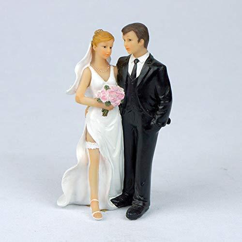 Decoración para tarta de boda con figuras de novia y novio de resina 18