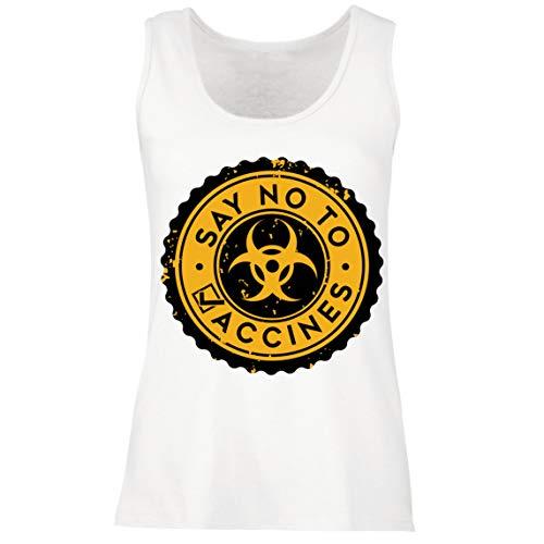 lepni.me Camisetas sin Mangas para Mujer Di no a Las Vacunas Lema de Seguridad contra la Vacunacin Obligatoria (M Blanco Multicolor)