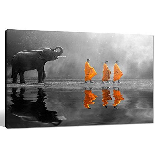 sechars - Elephant Wall Art,Human at Peace with Nature,Monk in Yellow Frock Alms Round Zen Painting Pictures for Home Wall Decoration,Framed Canvas Artwork Ready to Hang