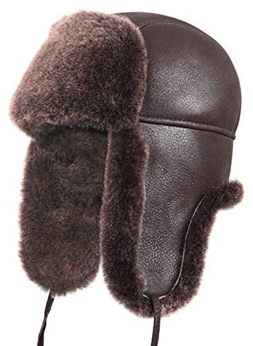 Zavelio Unisex Shearling Sheepskin Leather Aviator Russian Ushanka Trapper Winter Fur Hat Small Brown