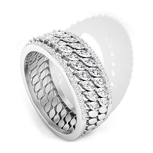 Anillo apilable con diamante certificado IGI, anillo de media eternidad, fino Marquise IJ-SI, anillo de boda de boda, anillo de compromiso a juego, oro blanco de 14 quilates, tamaño: UK S1/2