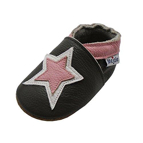 Mejale Cuir Chaussures bébé Chaussons bébé Chaussures pour Enfants Chaussons - - Dunkelgrau, Rosa Stern, 6-12 Monate/5.12 zoll,M
