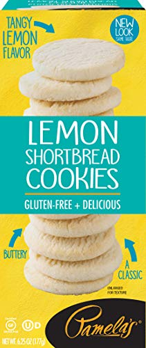 Pamela's Lemon Shortbread Gluten Free Cookies, 6.25 oz boxes, 6 Count