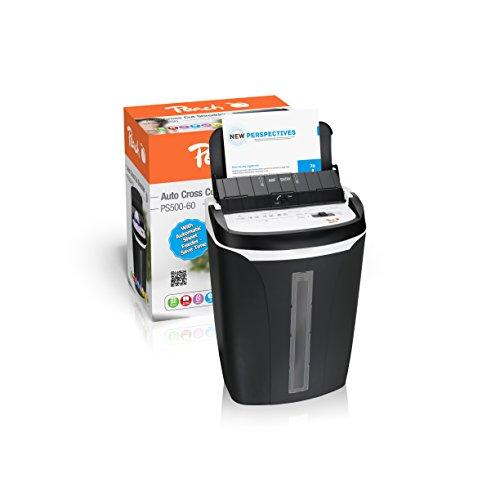Peach PS500-60 Partikelschnitt Aktenvernichter | 5/50 Blatt | 21 Liter | 4 x 32 mm Partikel (P-4) | Papier, CDs, Kreditkarten | automatischer Papiereinzug | leise und schnell | entspr. DSVO 2018