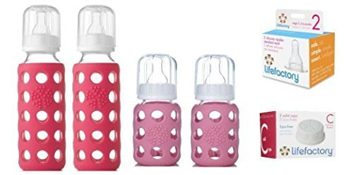 Glass Baby Bottles - Starter Kit (Pink) by Lifefactory