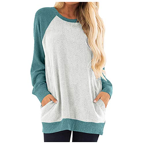 HFStorry Autumn Women Casual Color Block Casual Long Sleeve O-Neck Pockets T-Shirts Sweatshirt Blouse Green
