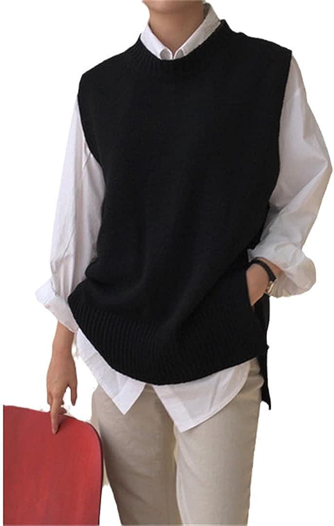 Ciystekn Women's Jersey Solid Color O-Neck Sleeveless Oversized Sweater Vest Female Knitwear Gilet