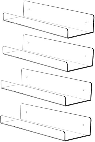 Cq acrylic 15' Invisible Acrylic Floating Wall Ledge Shelf, Wall Mounted Nursery Kids Bookshelf, Invisible Spice Rack, Clear 5MM Thick Bathroom Storage Shelves Display Organizer, 15' L,Set of 4