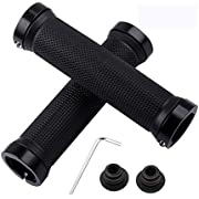 Bike Handle Grips, 1 Pair Ergonomics Design Bicycle Handlebar Grips with 1 Installation Tool, Anti-Slip Rubber Handle Grip with Aluminum Lock, for Mountain Cycling Road Bike, Black