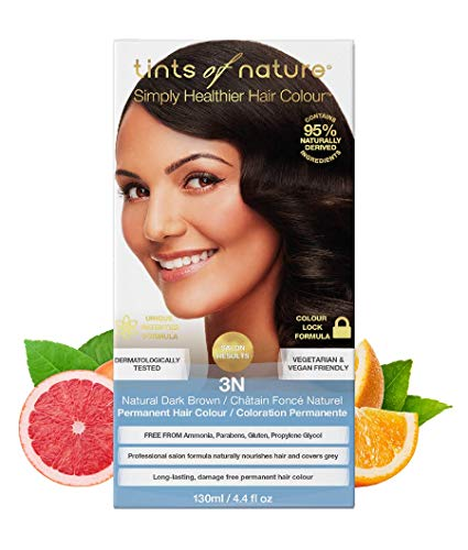Tints of Nature 3N Natural Dark Brown Permanent Hair Dye, 95% Natural, Free from Ammonia, Parabens, and Propylene Glycol, Single