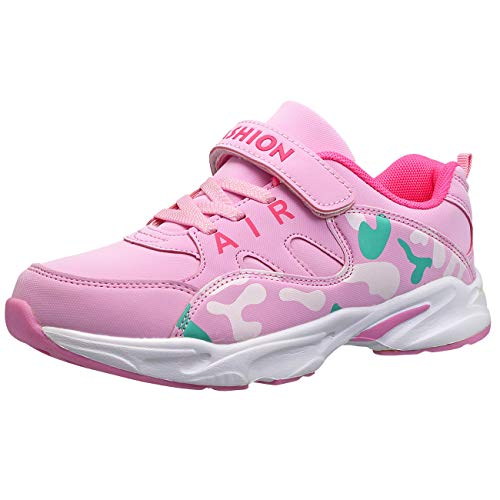 HSNA Scarpe da Ginnastica Bambina Sneakers Leggere per Ragazze, Rosa-31
