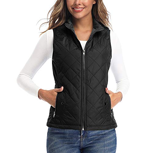 Art3d Women's Puffer Vest Outerwear, Quilted Lightweight Vest for Women, Black Vest - L(Fits Like Medium)