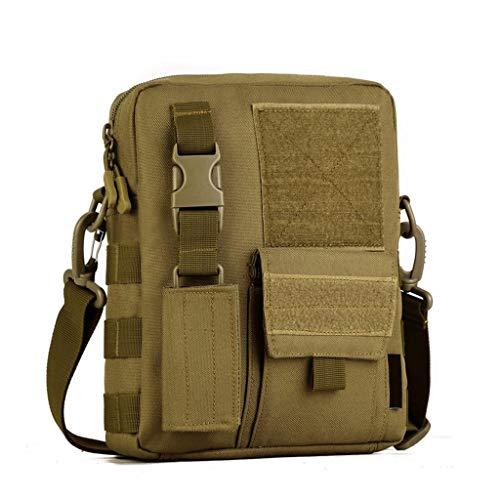 Huntvp Taktisch Umhängetasche Molle Schultertasche Militär Crossbody Bag Wasserdicht Tragetasche Messengerbag Crossbag für Outdoor Sport Trekking Wandern Camping - Braun