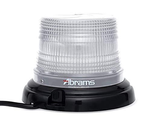 "Abrams StarEye 4"" Inch Dome LED Beacon [12 LED] [36W] Roof Top Permanent Mount [SAE Class-1] [30+ Flash Patterns] [IP67] School Bus Emergency Vehicle Car White Flashing Warning Strobe Beacon Light"