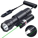 10. Tactical Flashlight with Green Laser Sight Weaponlight with MSD Offset Picatinny Rail Mount, Rechargeable Batteries and 2 Modes Pressure Switch