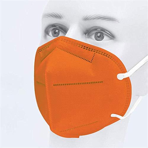 20-100PC Cinco Capas Tela para Adultos Proteccion Contaminacion Trabajo Ciclismo Gimnasio Colores Blanco Negro Rosa Azul Rojo Amarillo Morado Verde (50, Naranja)