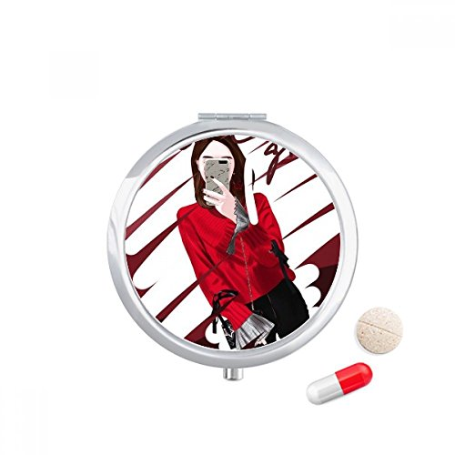 DIYthinker Smart Girl Figure Art Design Illustration Travel Pocket Pill Case Medicine Drug Storage Box Dispenser Mirror Gift 7.0Cm Diameter X 1.2Cm Height Silver