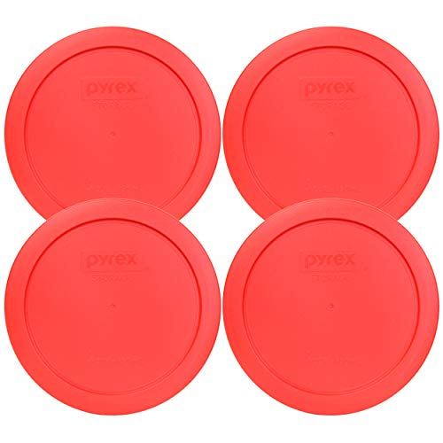 Pyrex 7201-PC Round Red 6.5' 4 Cup Lid for Glass Bowl 4 Pack