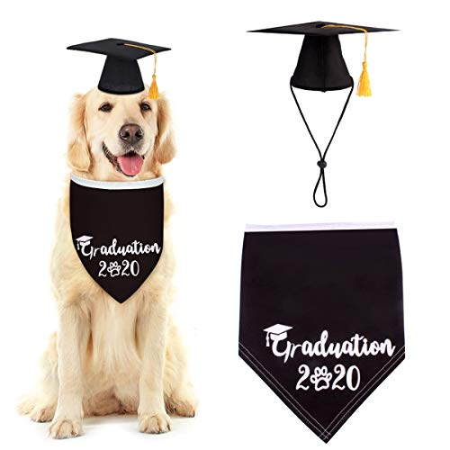 Rehomy Pet Graduation Caps, 2020 Dog Graduation Hats with Yellow Tassel & Bandana Scarf for Dogs Cats Holiday Party Costume