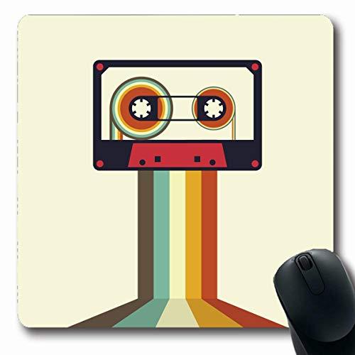 Jamron Mousepad Oblong 7.9x9.8 Inches Club Sound Cassette Retro Vintage Style Party Element Textures Fun Sign Stereo Object Audio Disco Non-Slip Rubber Mouse Pad Office Computer Laptop Games Mat Audio Cassette Label Template
