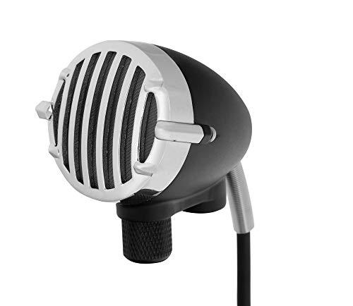 Pronomic HM-2 Dynamisches Mikrofon für Mundharmonika und Gesang - Handmikrofon mit XLR-Anschluss für Blues-Harp und Vocals - Vintage Design Metallgehäuse mit verchromtem Korb - 3m Mikrofonkabel
