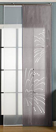 Gardinenbox 2er-Pack Schiebegardine Flächenvorhang Rodez Lasercut Wildseide Optik Voile, Grau, 245x60 cm (HxB) inkl. Paneelwagen und Beschwerungsstangen, 165640